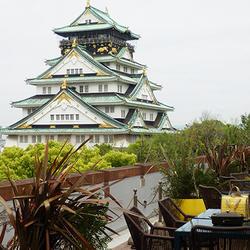 目の前に現れる大阪城