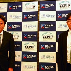 毛利訓士社長(写真左)と安田二朗教授(同右)