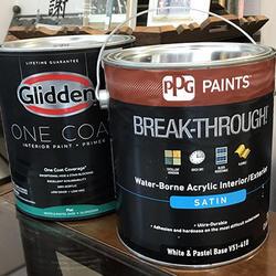 国内販売を始めたPPG社の「BREAK-THROUGH」(手前)とGlidden「ONE COAT」